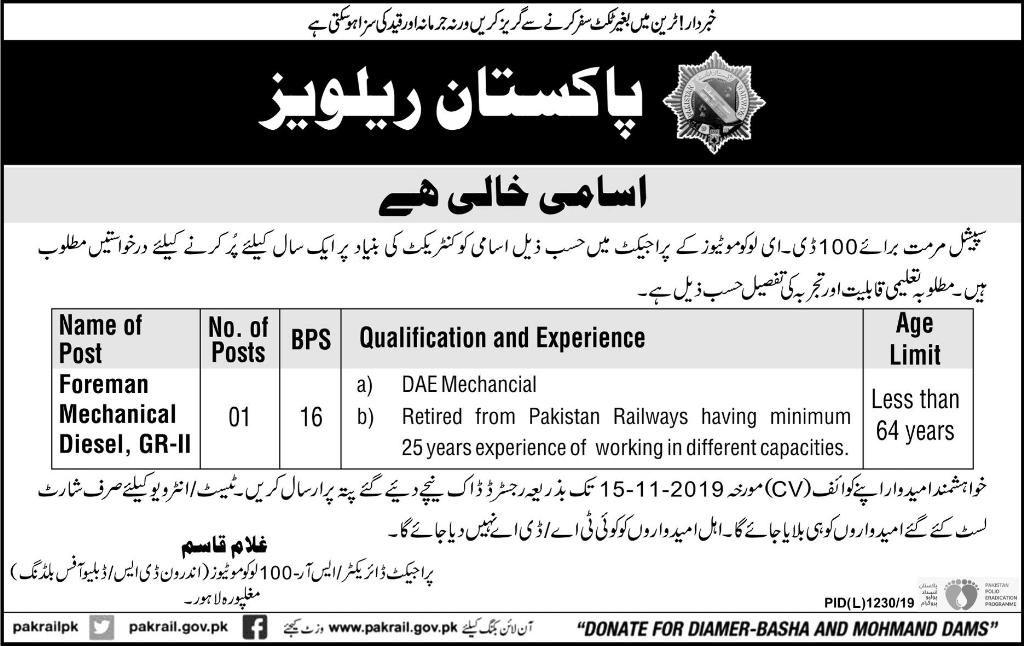Pakistan Railways Jobs Oct 2019