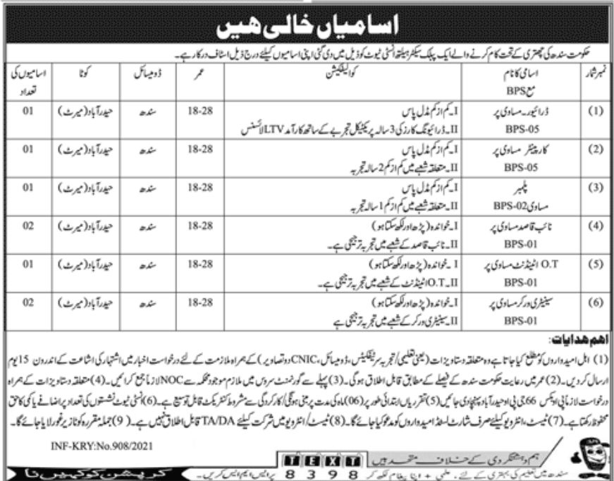 Public Sector Institute Jobs March 202 Govt of Sindh