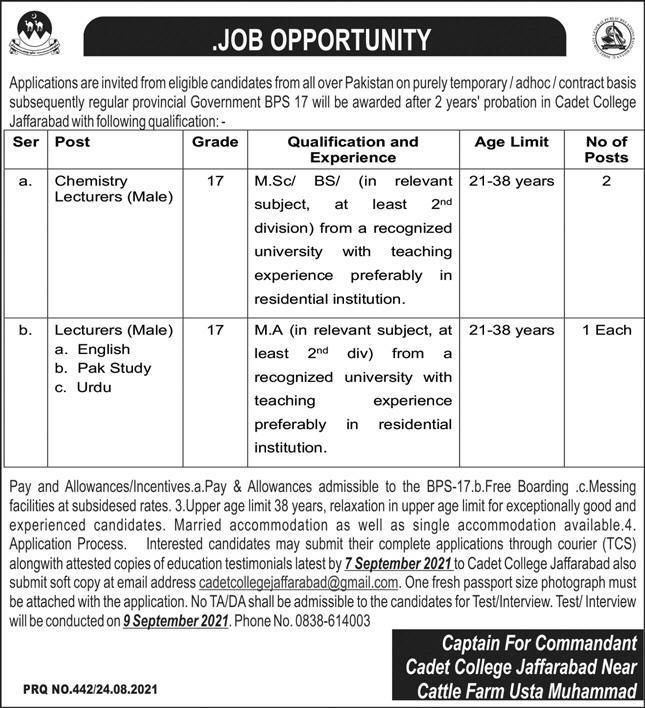 Cadet College Jobs August 2021 For All Pakistan