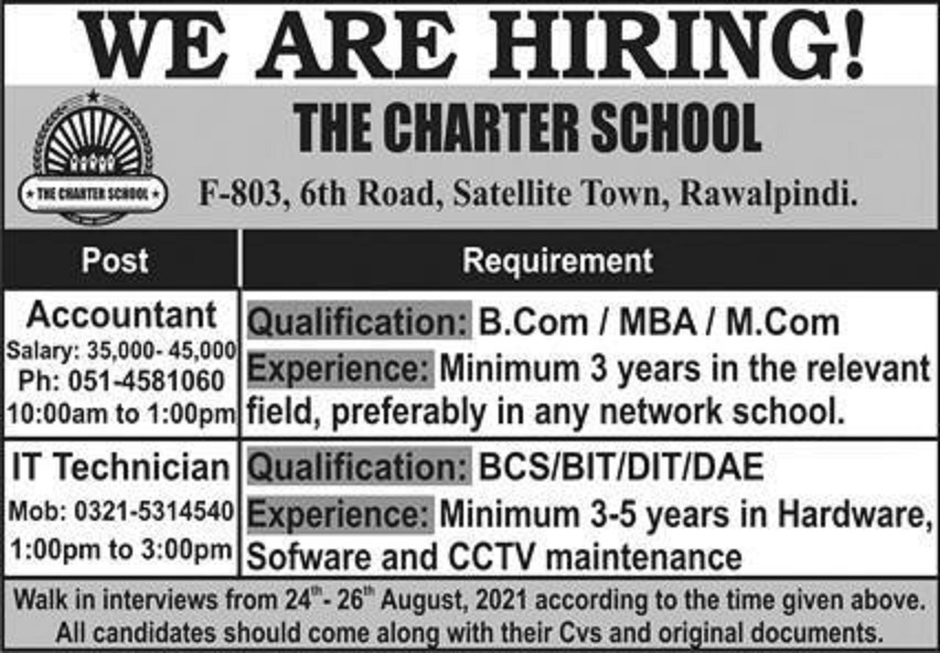 The Charter School Rawalpindi Jobs August 2021 For Accountant and Other Staff Latest